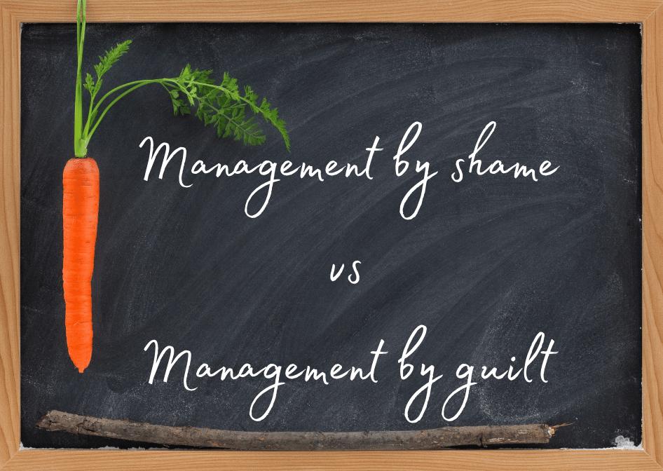 Blackboard with a sign Management by shame vs management by guilt